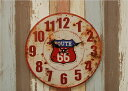HLCQ183423G ROUTE US 66 壁掛け時計 embossed 40CM METAL CLOCK ウォールクロック プレゼント かわいい 新築 新居 新入学 一人暮らし ..