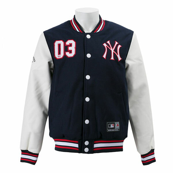 【MAJESTIC】 マジェスティック ジャケット ヤンキース PU/WOOL LETTERMAN VERSITY JACKET MM23-NYK-0047 WSP NVY25