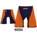 【アリーナ】 アベスポオリジナルAQUAFORCE FUSION-2 メンズ水着 ハーフスパッツ 返品・交換不可商品/オリジナルカラー/レーシング水着 (OAR7011M) NV04 ネイビー×オレンジ