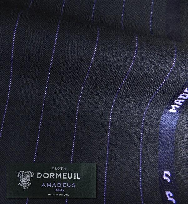 オーダースーツ [ブランド] DORMEUIL ドーメル / AMADEUS 365 [色] ネイビー(濃紺) [柄] 紫のストライプ [品質] Super100's 100% wool , woven in England [英ブランド][秋冬向け][送料無料]【02P03Dec16】 fs04gm