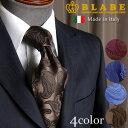 BLABE ネクタイ ペイズリー イタリア製 4色 カラー シルク100% 高級 ブランド 披露宴 おしゃれ 上品 つや 光沢 綺麗 退職祝い 就職祝い 卒業式 メンズ 男性 赤 ワイン レッド サックス ブルー 茶 ブラウン エンジ ネイビー 紺 アベ オリジナル 別注