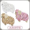 ABISTE(アビステ) andGIRL掲載!クリスタルシープブローチ/ホワイト、ピンク、Lブラウン 5401011 レディース 女性 人気 上品 大人 かわいい おしゃれ アクセサリー ブランド 誕生日 ギフト プレゼント ラッピング無料