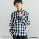 ボタンダウンシャツ メンズ ギンガム チェックシャツ 長袖 日本製 国産 ブロードシャツ チェック柄 1737