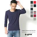 【grn/ジーアールエヌ】パック入りフライス七分袖クルーネックTシャツ/メンズ/7分袖/カット