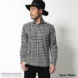 シャツ メンズ 長袖 チェック柄 手書き風 ホリゾンタルカラー 日本製 国産 カジュアルシャツ 5412【XLサイズ】