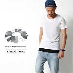 SHELLAC HOMME シェラックオム パックT Tシャツ タンクトップ 2点セット Tシャツ タンクトップ 2点セット HT003M0616-02A HT004M0616-02A 6065