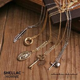 SHELLAC HOMME シェラックオム 日本製 ネックレス メンズ アクセサリー シルバー ゴールド 合金 チャーム付き ロゴ フェザー クロス マリア 鍵 ギフト プレゼント 6115