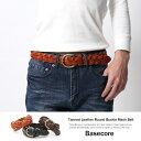 ベルト メンズ 本革 牛革 レザーベルト メッシュ ラウンドバックル Basecore 6736