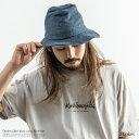 ハット メンズ デニム ツバ広 ロングブリム 帽子 カジュアル 無地 シンプル 綿 コットン ドローコード カジュアル おしゃれ 8370