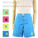 "Ralph Lauren Men's ""CROSSED MALLETS"" Palm Island Trunk US ポロ ラルフローレン 無地 スイムショーツ (水着)"