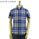 "Ralph Lauren S/S ""SLIM FIT"" Oxford Plaid S/S B.D.Shirts US ポロ ラルフローレン スリムフィット オックスフォード ボタンダウン チ.."