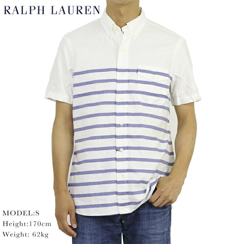 ポロ ラルフローレン オックスフォード バスク ボーダー ボタンダウン 半袖シャツ  ポケット付き POLO Ralph Lauren Oxford Border S/S B.D. Shirts US