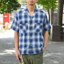 ohh!nisica(オオニシカ)/ オープンカラーシャツ -BLUE CHECK-