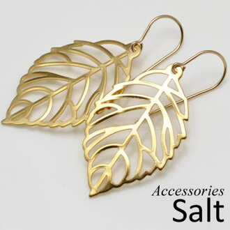 Leaf ( leaves ) Watermarking motif K14GF hook earring