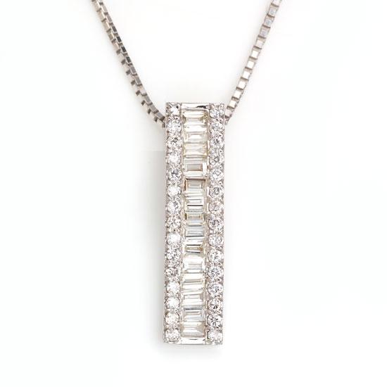 Pt900/850 ダイヤモンド計0.50ct テーパーカットプラチナラインネックレス/送料無料