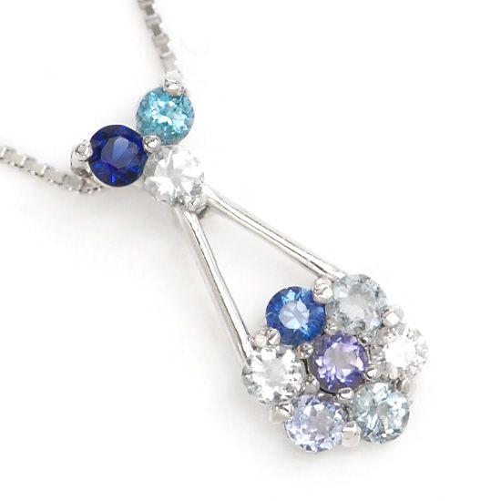 K10WG ダイヤモンド/カラーストーンマルチパヴェ花型ネックレス オーシャンブルー/送料無料 ネックレス レディース