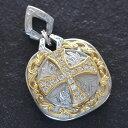 ショッピングハワイアン 18金 ペンダントトップ メンズ クロス プラチナ K18 Pt950 ダイヤモンド 十字架 盾 刻印入り 日本製 鑑別書付き