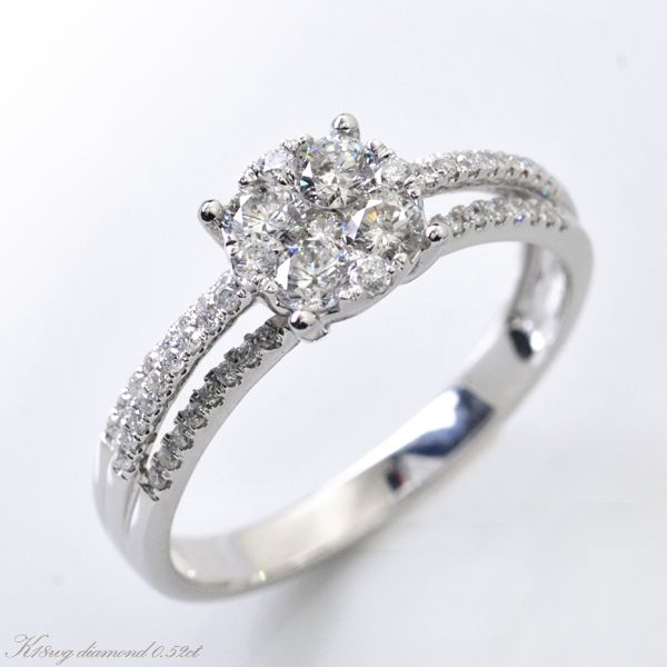K18WG ダイヤモンド計0.50ctup 極小爪セッティング リング