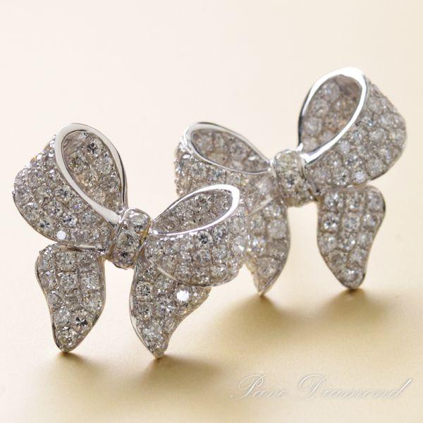K18WG ダイヤモンド計1.00ct リボンモチーフ ピアス