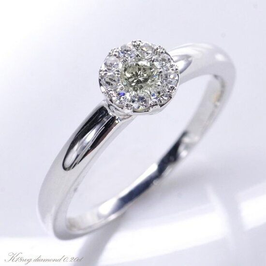 K18WG ダイヤモンド0.20ct 極小爪セッティング リング/送料無料