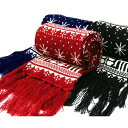 ノルディック柄マフラー 大人気の北欧伝統のトナカイ柄&雪柄 シンプルでカワイイので通勤、通学にもピッタリ