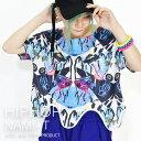 HIPHOP総柄 ナミT Tシャツ ショート丈 変形 デザイ...