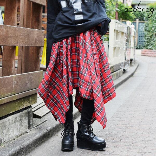 【1/9(火)再販】2wayタータンスカート モードパンク 原宿系 中性 ロング スカート アシメ アシンメトリー アジャスト タータン チェック 赤 調節可 イギリス UK ロック ロンドン バンド 衣装