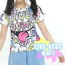 LIVE ACチビTシャツ Tシャツ レディース キッズ 原宿系 ファッション 個性派 個性的 半袖 ダンス 衣装 ヒップホップ 派手 カワ 柄 カラフル