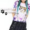 アンジ チビTシャツ 猫 猫柄 ネコ ねこ Tシャツ かわいい 宇宙 宇宙柄 服 半袖 ギャラクシー柄 スペース柄 原宿系 青文字系 個性派 個性的 派手カワ ACDC ACDCRAG