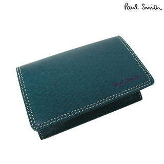 ポールスミスピッグスキンレザーカードケース/ターコイズ