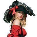 帽子 パイレーツ ぼうし レディース 大きい 海賊 ハロウィン コスプレ 衣装 ゴージャスサテンリボン