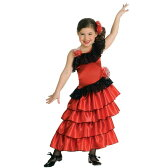 ハロウィン フラメンコ ダンス 衣装 子供 スペイン 民族衣装 コスプレ コスチューム 赤 ドレス 女の子用