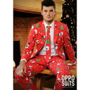 派手 スーツ メンズ 大人 男性 コスチューム クリスマス 総柄 赤 オッポスーツ OppoSuits ハロウィン 仮装 パーティ ファンシースーツ