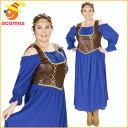 中世 ルネッサンス コスプレ 衣装 大人 女性用 大きい サイズ パープル コルセット 村娘 ドレス