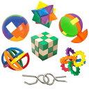 IQチャレンジセット IQテスト7種類の立体パズル 知恵の輪 脳のトレーニング 脳トレ 頭脳発達 知育玩具 おもちゃ