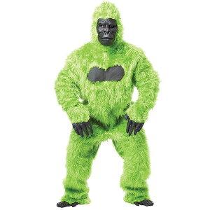 着ぐるみ動物ゴリラ大人用おしゃれグリーンゴリラコスチュームコスプレ衣装ハロウィンパーティー猿かわいい緑もふもふ