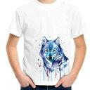 ショッピングペアルック インク滴る青い狼イラストプリントTシャツ 親子でお揃いコーデが出来るTシャツ♪ペアルック/キッズ服/ジュニア服/メンズ/レディース