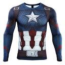 キャプテン・アメリカ Mサイズ トレーニング用 ハロウィーン用 フィットシャツ コスチューム ハロウィン Tシャツ 仮装 Captain America costume