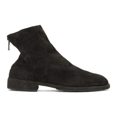 グイディ ブーツ Black Suede Oxford Back Zip Boots