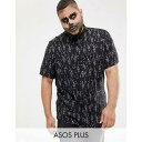 エイソス ASOS DESIGN シャツ Plus Halloween regular skeleton print shirt in black Black