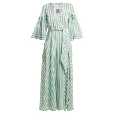 ティエリー コルソン ビーチウェア Sultane striped silk maxi dress Pastel-blue