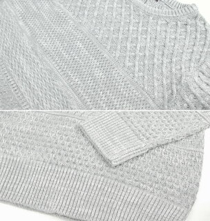 ニットセーター無地編み変え切替ケーブル編み飾り編みメンズケーブルセーターざっくりニットアランケーブルニットクルーニット(MEN'SKNITSWEATER黒白グレー)10P23Sep15