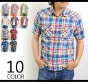 【送料無料】チェックシャツ メンズ 半袖 チェックシャツ ウエスタンシャツ チェック 半袖 チェックシャツ メンズ ウエスタン チェックシャツ ブルー 半袖 綿 コットン チェックシャツ メンズ カジュアルシャツ 10P11Mar16