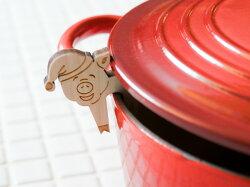 *【フィンランドの可愛いキッチン雑貨】Veico/ヴェイコ白樺ポットウォッチャー<TONTUU-POSSU(帽子をかぶったこぶた)>