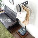 【送料無料】【代引可】スリムハンガーラック TORRE(トーレ) 幅45×奥行き40×高さ154cm ウォールナット突き板貼りMDF 天然木 スチール キャスター付き ブラウン ブラック hs-1540
