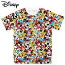 ショッピングTシャツ ミッキーマウス&フレンズ 半袖Tシャツ ぎっしり 総柄 レディース メンズ ウェア トップス