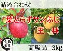送料無料 葉とらずサンふじ・王林(おうりん) 詰め合わせ 高級品 約3kg 県認証無し リンゴ