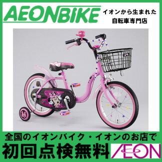 【アイデス】 ディズニー ミニーマウス ラブデコリボン ピンク/ブラック 18型 変速なし…...:aeonbike:10013110