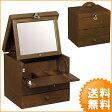 【送料無料】日本製でお洒落な木製コスメティックボックス 一面鏡コスメボックス 化粧箱 鏡台 G-1882B