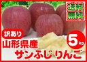 【ポイント10倍】【訳あり】【送料無料】山形県産 無選別 サンふじ りんご 5kg